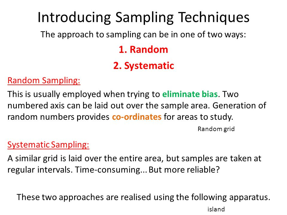Introducing Sampling Techniques The approach to sampling can be in one of two ways: 1.