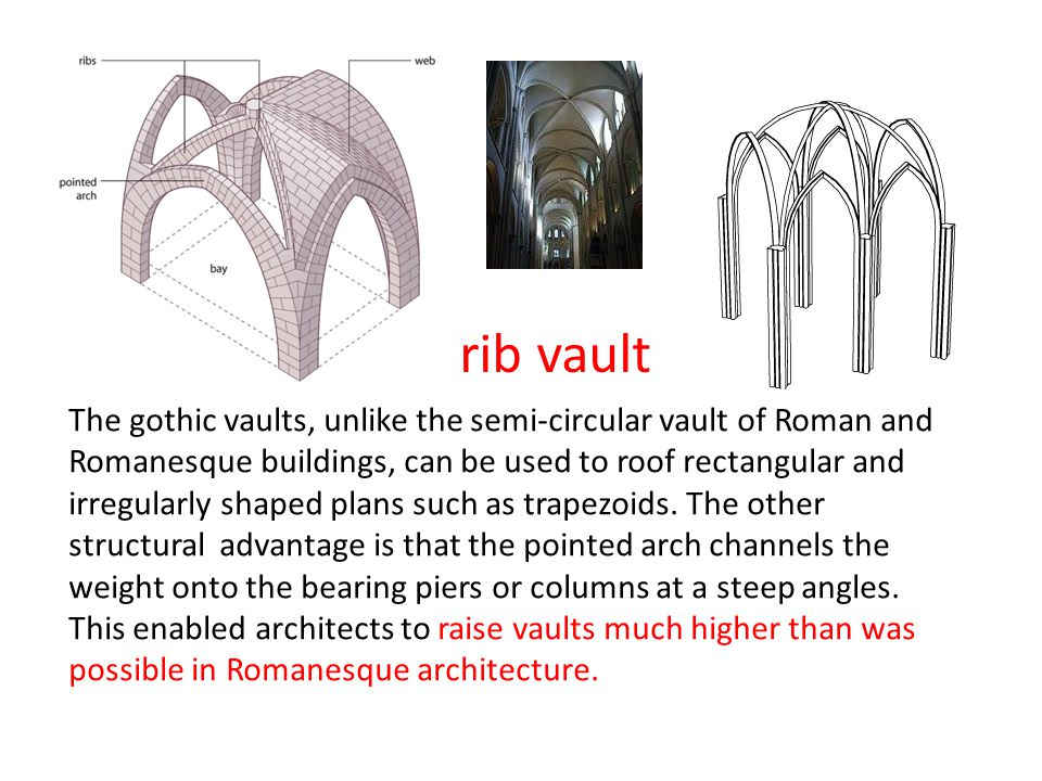 rib vault The gothic vaults, unlike the semi-circular vault of Roman and Romanesque buildings, can be used to roof rectangular and irregularly shaped