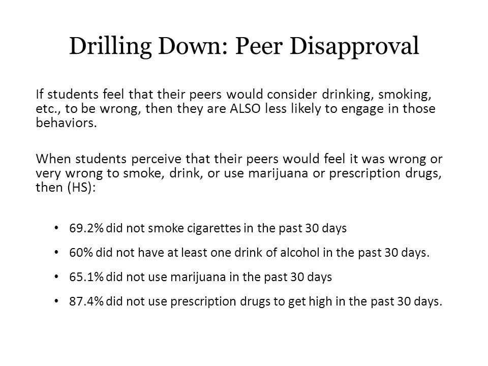 If students feel that their peers would consider drinking, smoking, etc., to be wrong, then they are ALSO less likely to engage in those behaviors.