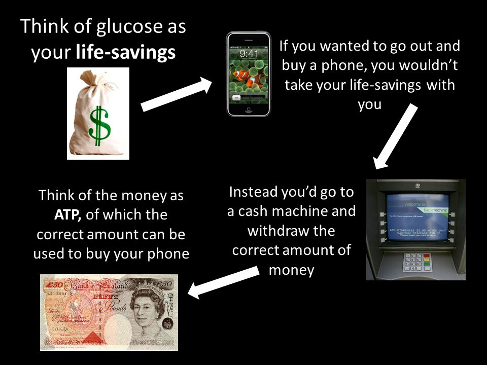 Think of glucose as your life-savings If you wanted to go out and buy a phone, you wouldn't take your life-savings with you Instead you'd go to a cash