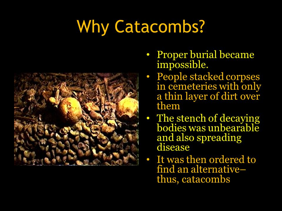Why Catacombs? Proper burial became impossible. People stacked corpses in cemeteries with only a thin layer of dirt over them The stench of decaying b