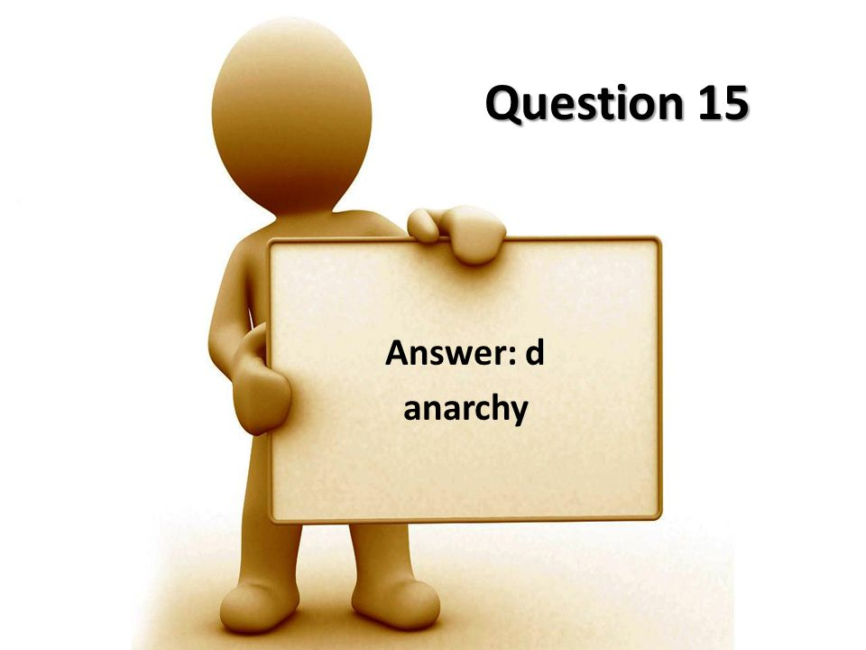 Question 15 Answer: d anarchy