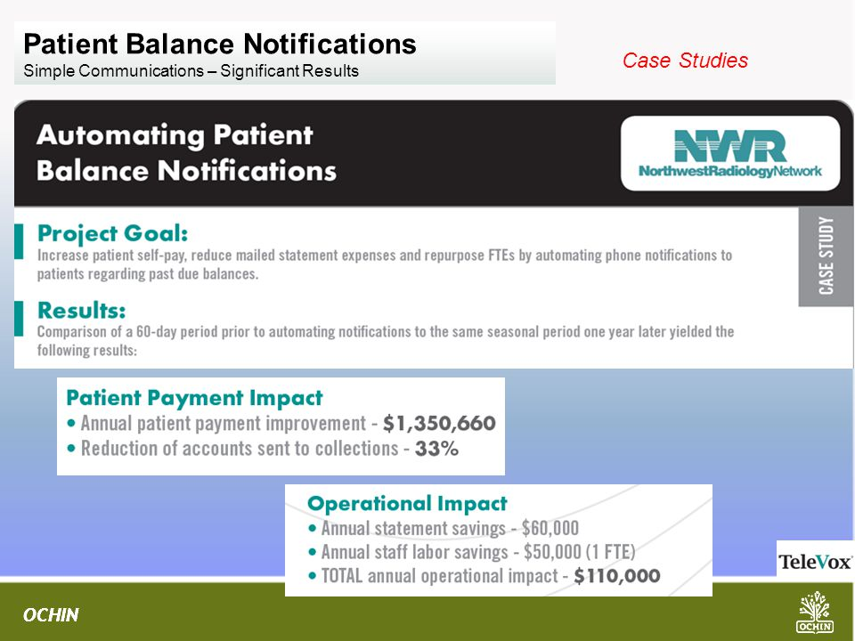 OCHIN Patient Balance Notifications Simple Communications – Significant Results Case Studies