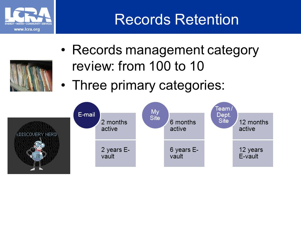www.lcra.org Records Retention Records management category review: from 100 to 10 Three primary categories: 2 months active 2 years E- vault E-mail 6 months active 6 years E- vault My Site 12 months active 12 years E-vault Team / Dept.