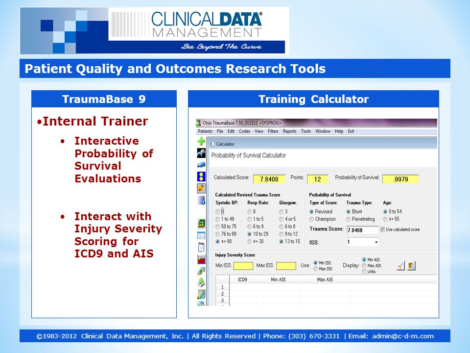 Internal Trainer Interactive Probability of Survival Evaluations Interact with Injury Severity Scoring for ICD9 and AIS Patient Quality and Outcomes Research Tools ©1983-2012 Clinical Data Management, Inc.
