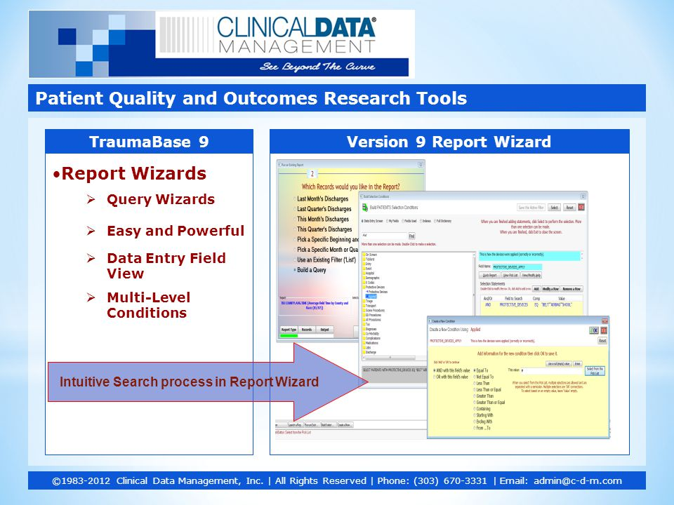 Report Wizards  Query Wizards  Easy and Powerful  Data Entry Field View  Multi-Level Conditions Patient Quality and Outcomes Research Tools ©1983-2012 Clinical Data Management, Inc.