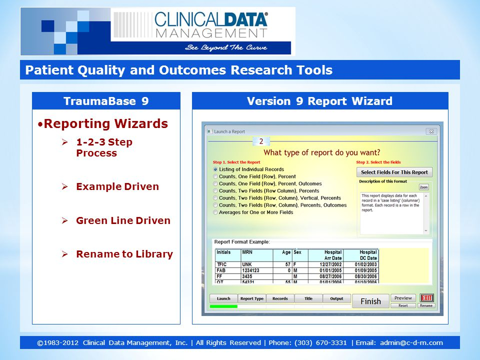 Reporting Wizards  1-2-3 Step Process  Example Driven  Green Line Driven  Rename to Library Patient Quality and Outcomes Research Tools ©1983-2012
