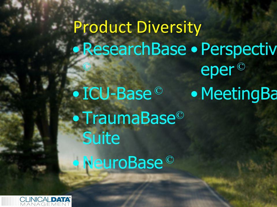 2 Product Diversity ResearchBase © ICU-Base © TraumaBase © Suite NeuroBase © PerspectiveKe eper © MeetingBase ©