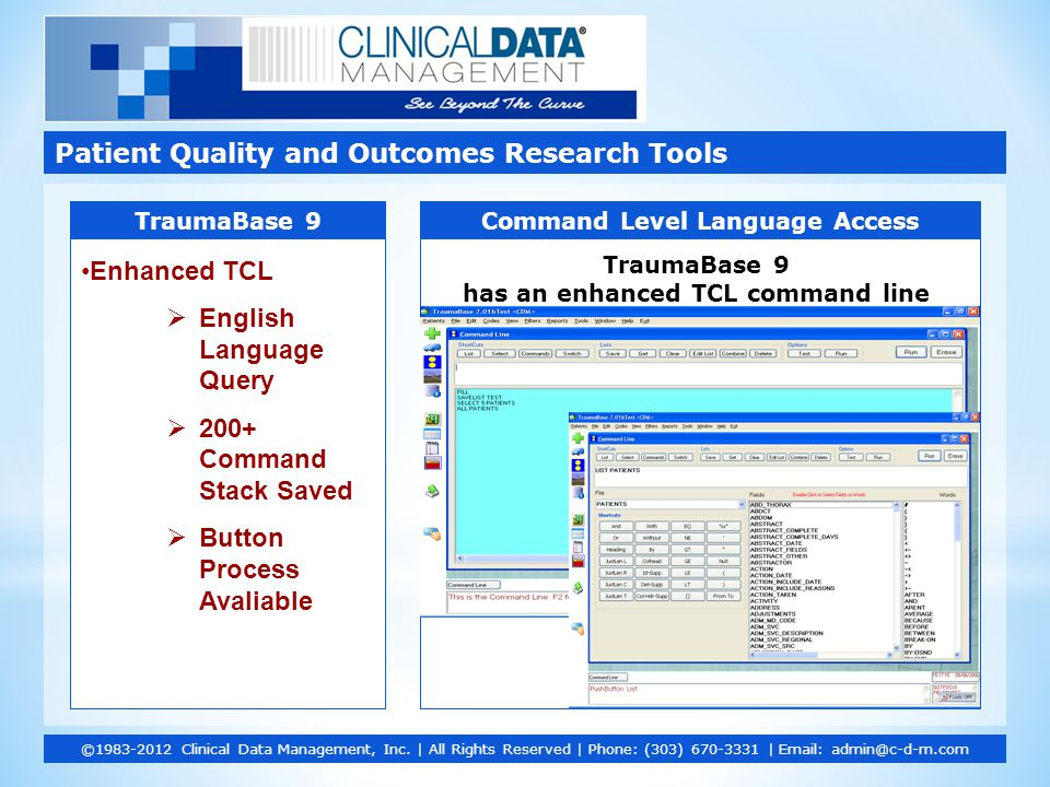 Patient Quality and Outcomes Research Tools ©1983-2012 Clinical Data Management, Inc. | All Rights Reserved | Phone: (303) 670-3331 | Email: admin@c-d