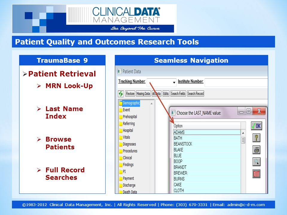  Patient Retrieval  MRN Look-Up  Last Name Index  Browse Patients  Full Record Searches Patient Quality and Outcomes Research Tools ©1983-2012 Clinical Data Management, Inc.