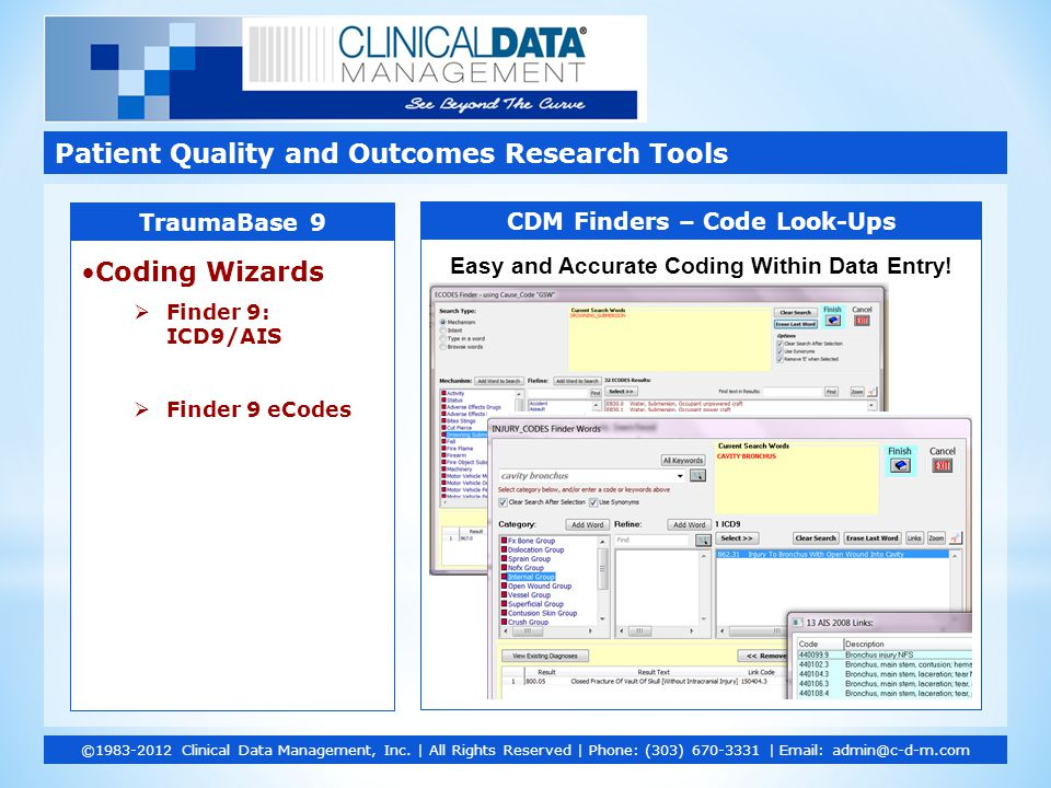 Patient Quality and Outcomes Research Tools ©1983-2012 Clinical Data Management, Inc.