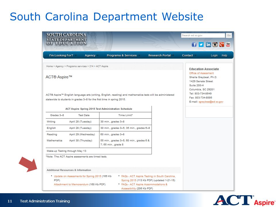 Test Administration Training11 South Carolina Department Website