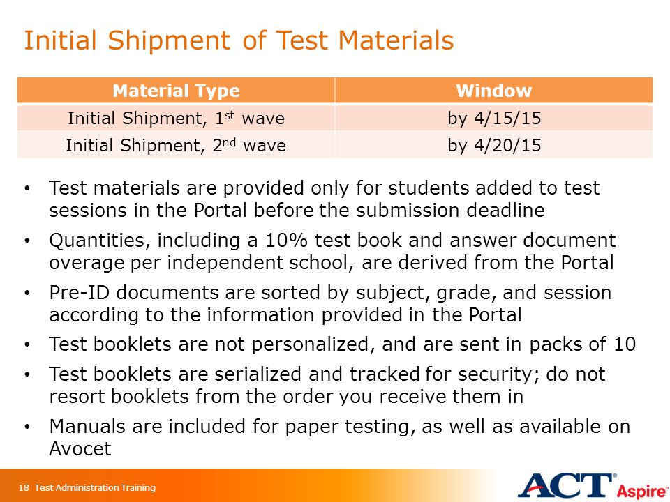 Initial Shipment of Test Materials Material TypeWindow Initial Shipment, 1 st waveby 4/15/15 Initial Shipment, 2 nd waveby 4/20/15 18 Test materials a