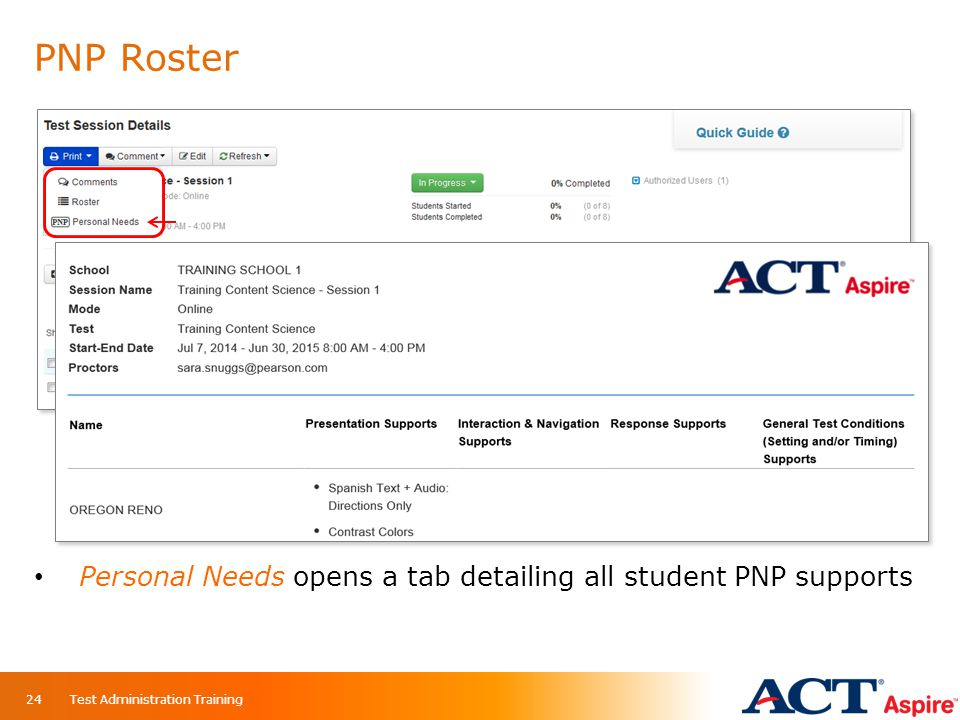 PNP Roster Personal Needs opens a tab detailing all student PNP supports Test Administration Training24