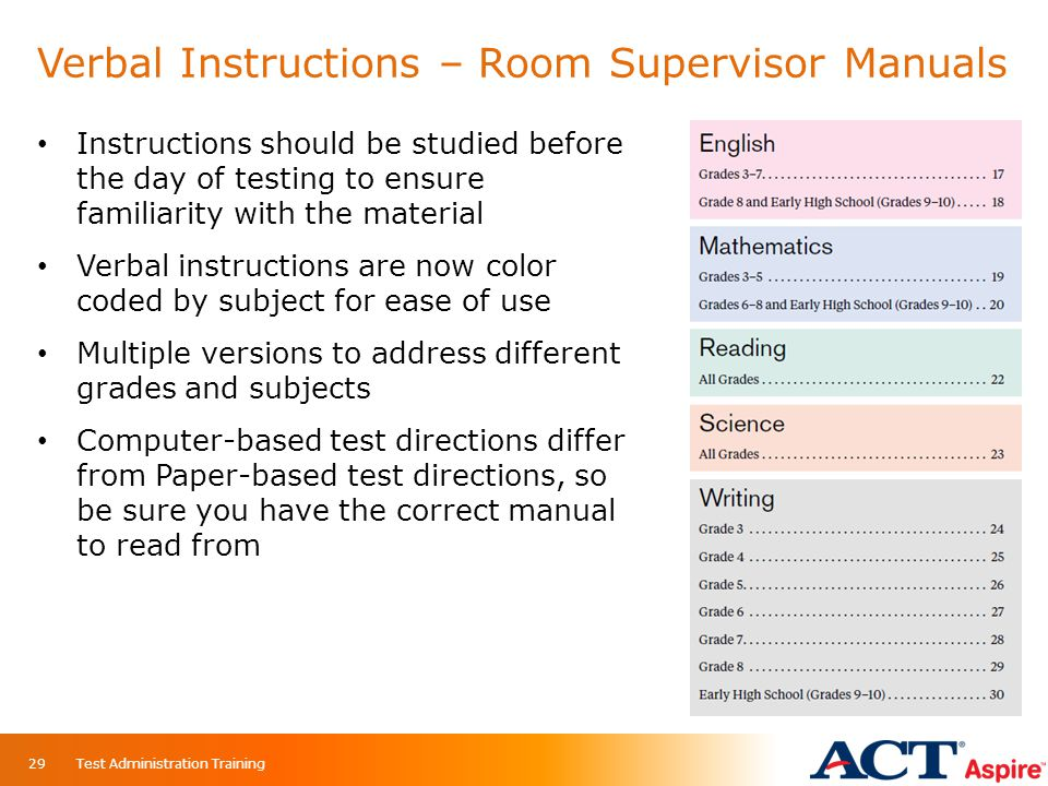Verbal Instructions – Room Supervisor Manuals Instructions should be studied before the day of testing to ensure familiarity with the material Verbal