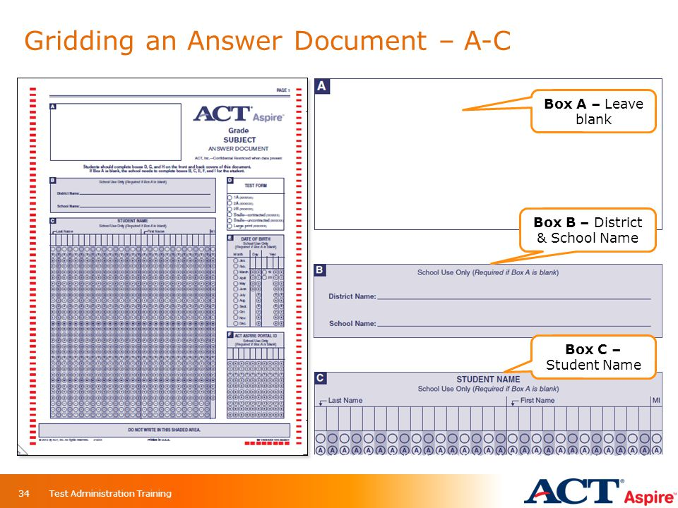 Gridding an Answer Document – A-C Box A – Leave blank Box B – District & School Name Box C – Student Name 34Test Administration Training