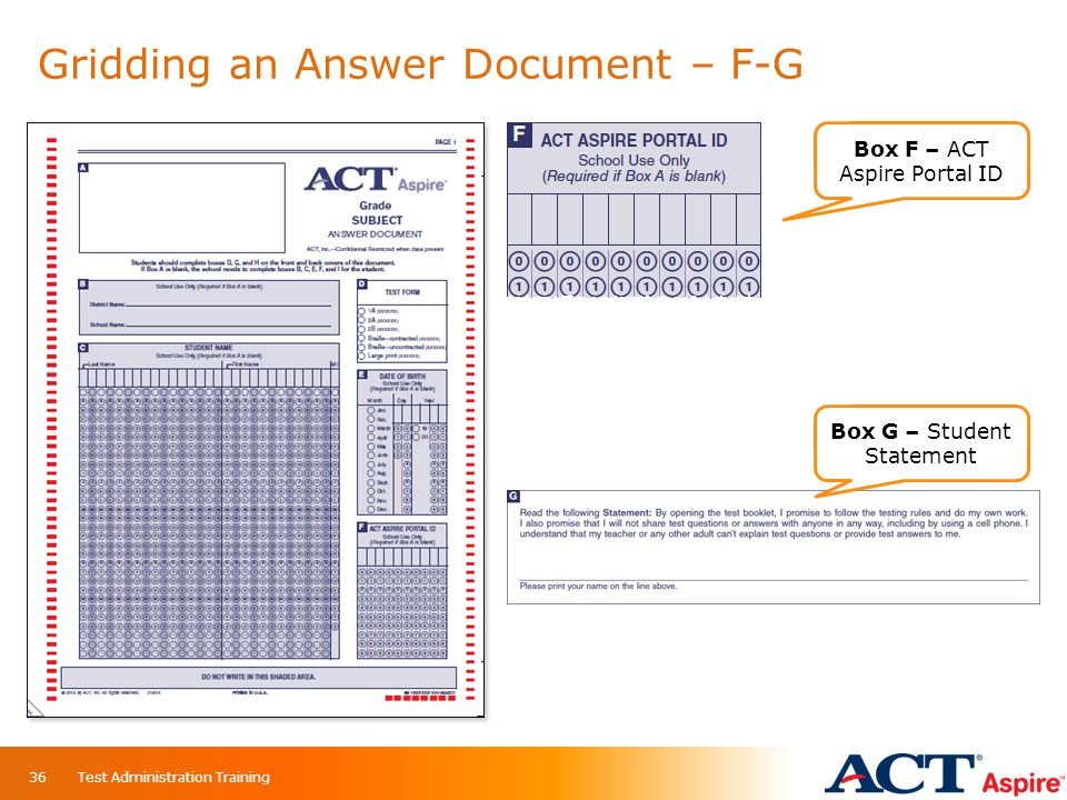 Gridding an Answer Document – F-G Box F – ACT Aspire Portal ID Box G – Student Statement 36Test Administration Training