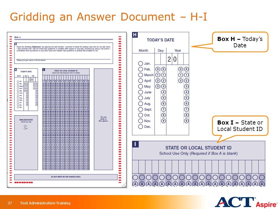 Gridding an Answer Document – H-I Box H – Today's Date Box I – State or Local Student ID 37Test Administration Training