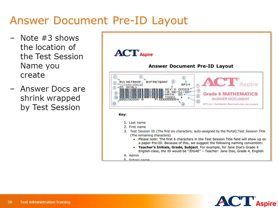 Answer Document Pre-ID Layout Test Administration Training38 –Note #3 shows the location of the Test Session Name you create –Answer Docs are shrink w