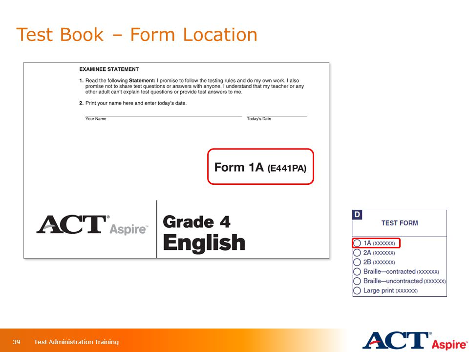 Test Book – Form Location Test Administration Training39