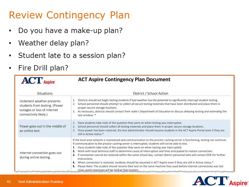 Review Contingency Plan Do you have a make-up plan? Weather delay plan? Student late to a session plan? Fire Drill plan? Test Administration Training4