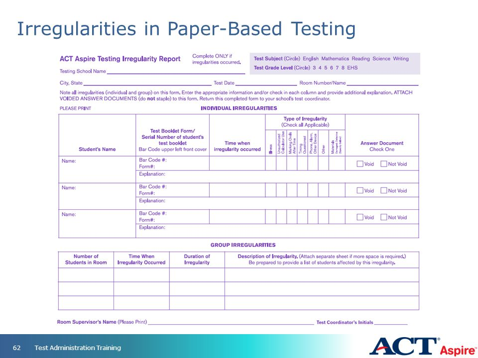 Irregularities in Paper-Based Testing Test Administration Training62