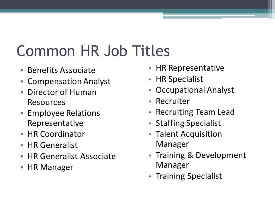 Job Titles For Management BGDB – Human Resources Representative