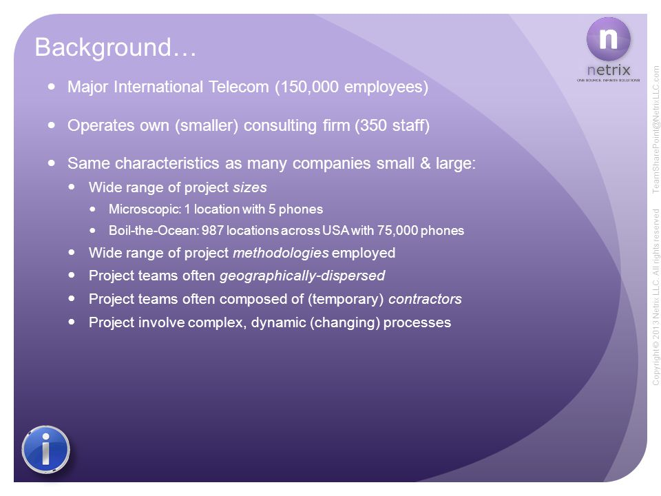 Copyright © 2013 Netrix LLC. All rights reserved TeamSharePoint@NetrixLLC.com Background… Major International Telecom (150,000 employees) Operates own