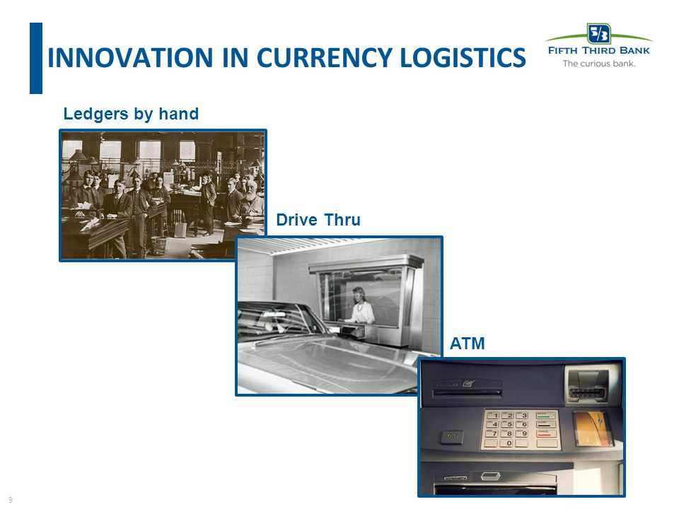 9 Ledgers by hand Drive Thru ATM INNOVATION IN CURRENCY LOGISTICS