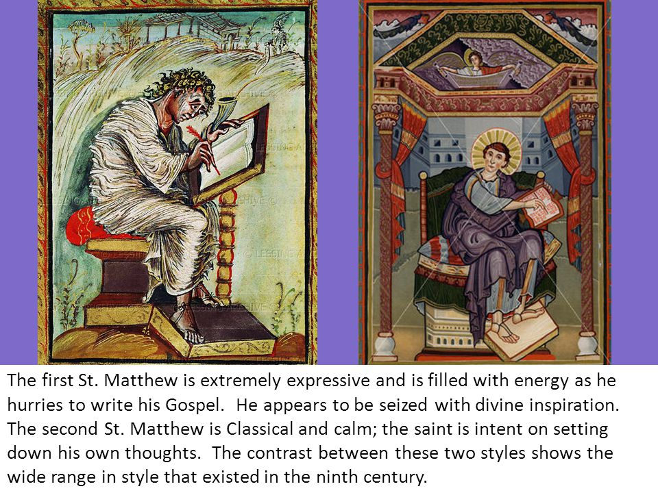 The first St. Matthew is extremely expressive and is filled with energy as he hurries to write his Gospel. He appears to be seized with divine inspira