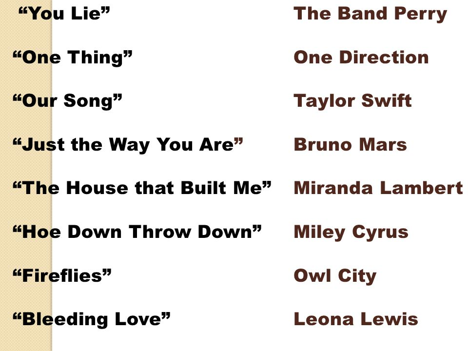 """You Lie"" The Band Perry ""One Thing""One Direction ""Our Song"" Taylor Swift ""Just the Way You Are"" Bruno Mars ""The House that Built Me"" Miranda Lambert"