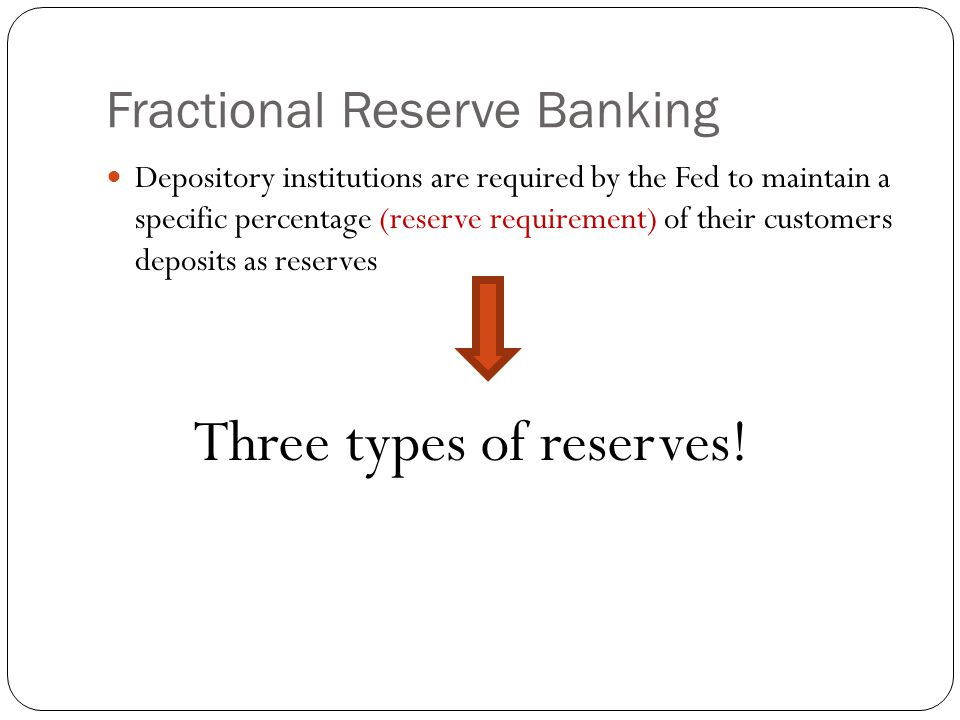 Fractional Reserve Banking Depository institutions are required by the Fed to maintain a specific percentage (reserve requirement) of their customers deposits as reserves Three types of reserves!