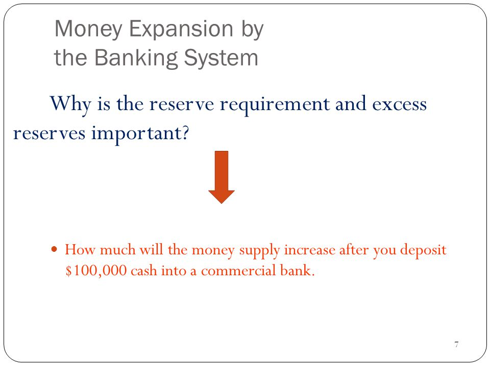 7 Money Expansion by the Banking System How much will the money supply increase after you deposit $100,000 cash into a commercial bank.