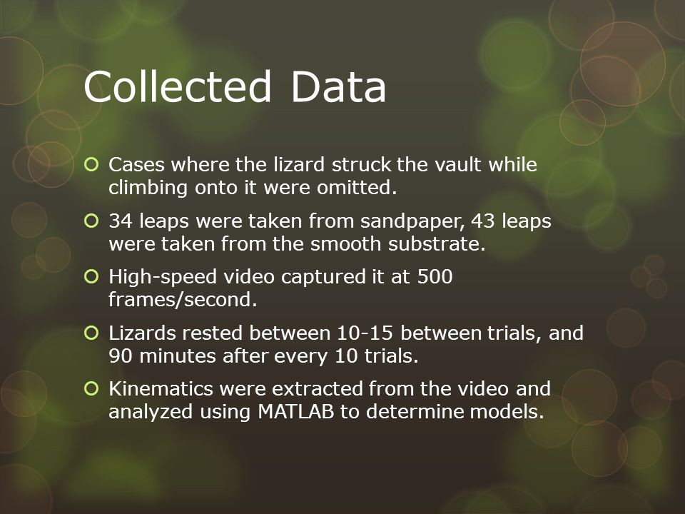 Collected Data  Cases where the lizard struck the vault while climbing onto it were omitted.