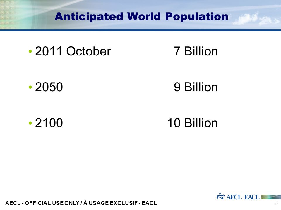 Anticipated World Population 2011 October 7 Billion 2050 9 Billion 210010 Billion AECL - OFFICIAL USE ONLY / À USAGE EXCLUSIF - EACL 13