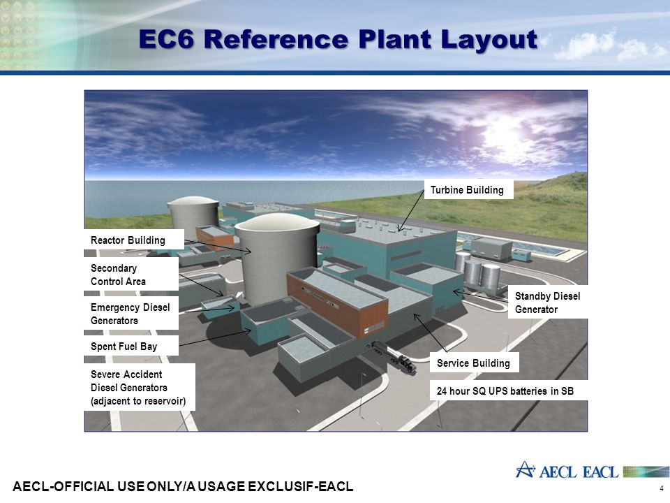 EC6 Reference Plant Layout AECL-OFFICIAL USE ONLY/A USAGE EXCLUSIF-EACL 4 Reactor Building Service Building Turbine Building Spent Fuel Bay Standby Diesel Generator Secondary Control Area 24 hour SQ UPS batteries in SB Severe Accident Diesel Generators (adjacent to reservoir) Emergency Diesel Generators