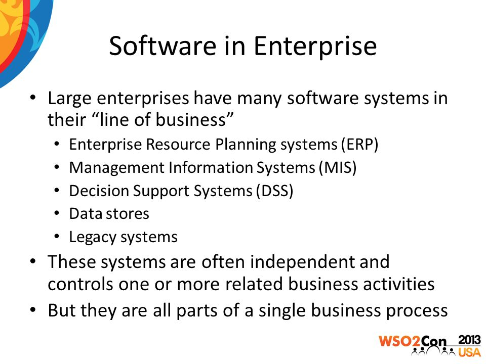 Need for Enterprise Integration Individual software applications cannot achieve much Systems should be integrated to work together Enables free data flow across the organization Improves production and management efficiency Application users can make better decisions