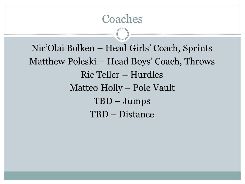 Coaches Nic'Olai Bolken – Head Girls' Coach, Sprints Matthew Poleski – Head Boys' Coach, Throws Ric Teller – Hurdles Matteo Holly – Pole Vault TBD – Jumps TBD – Distance
