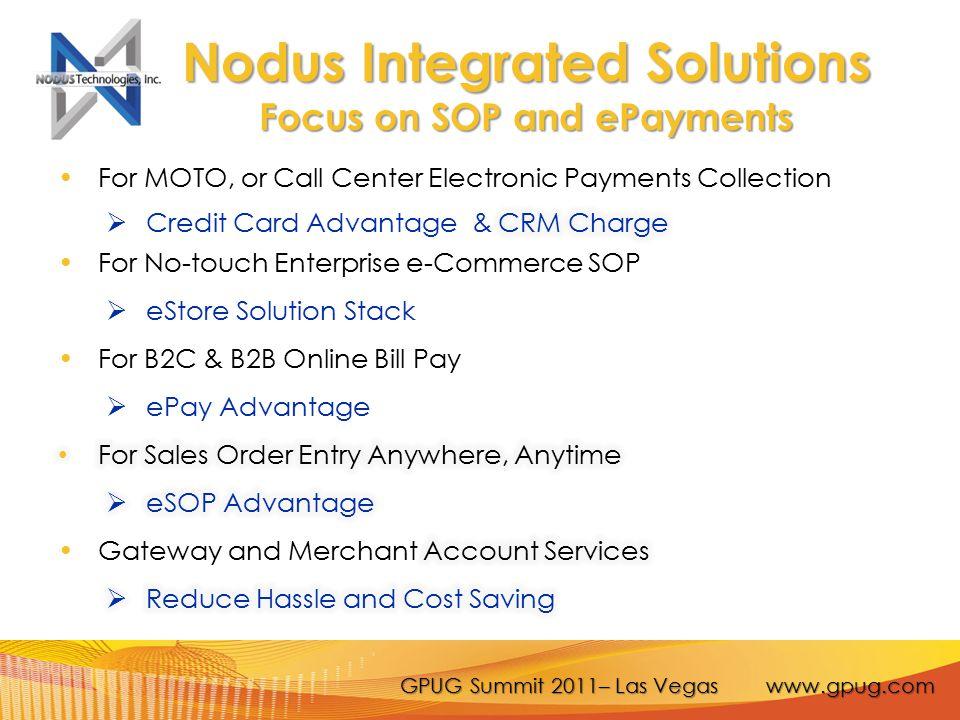 GPUG Summit 2011– Las Vegas www.gpug.com Nodus Integrated Solutions Focus on SOP and ePayments