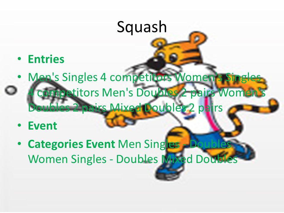 Squash Entries Men s Singles 4 competitors Women s Singles 4 competitors Men s Doubles 2 pairs Women s Doubles 2 pairs Mixed Doubles 2 pairs Event Categories Event Men Singles - Doubles Women Singles - Doubles Mixed Doubles