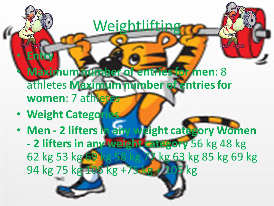 Weightlifting Entry Maximum number of entries for men: 8 athletes Maximum number of entries for women: 7 athletes Weight Categories Men - 2 lifters in any weight category Women - 2 lifters in any weight category 56 kg 48 kg 62 kg 53 kg 69 kg 58 kg 77 kg 63 kg 85 kg 69 kg 94 kg 75 kg 105 kg +75 kg + 105 kg