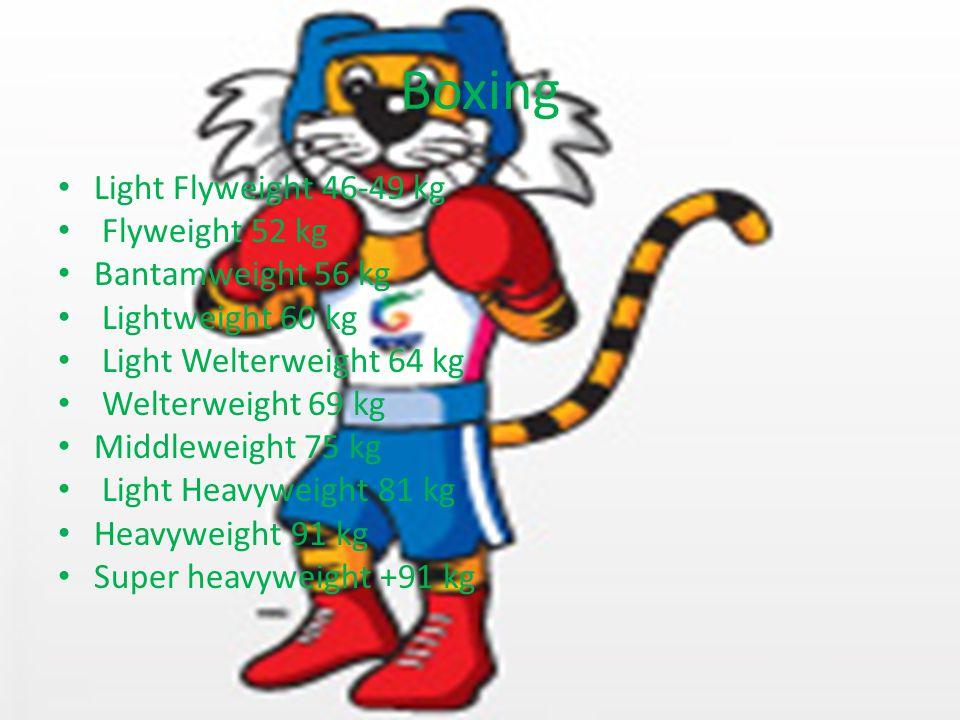 Boxing Light Flyweight 46-49 kg Flyweight 52 kg Bantamweight 56 kg Lightweight 60 kg Light Welterweight 64 kg Welterweight 69 kg Middleweight 75 kg Light Heavyweight 81 kg Heavyweight 91 kg Super heavyweight +91 kg