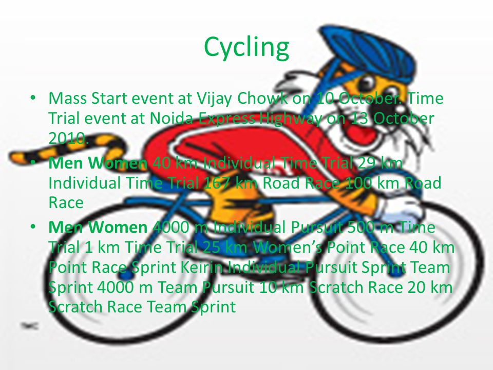 Cycling Mass Start event at Vijay Chowk on 10 October.