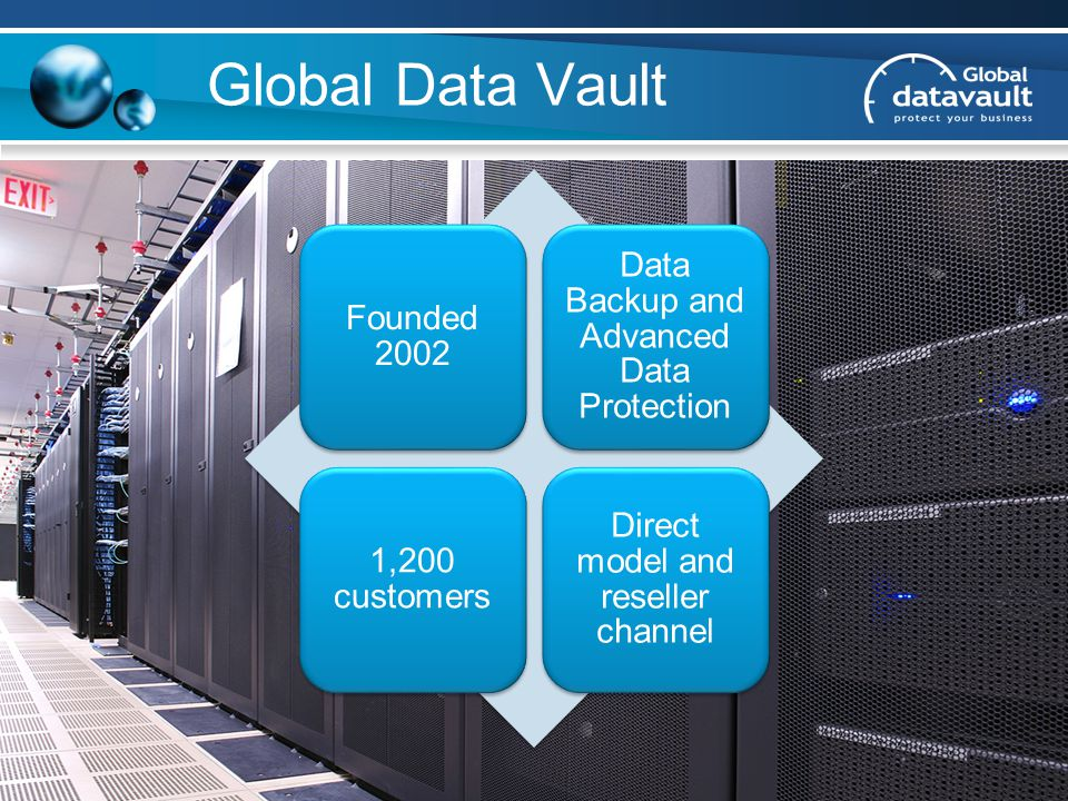 Global Data Vault Founded 2002 Data Backup and Advanced Data Protection 1,200 customers Direct model and reseller channel