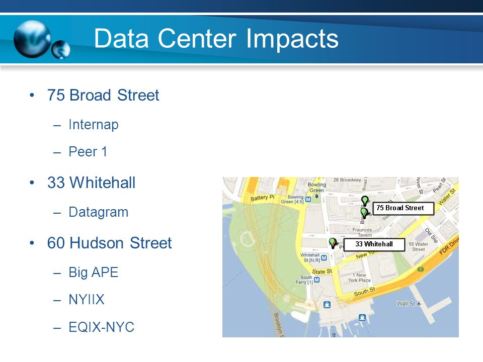 Data Center Impacts 75 Broad Street –Internap –Peer 1 33 Whitehall –Datagram 60 Hudson Street –Big APE –NYIIX –EQIX-NYC