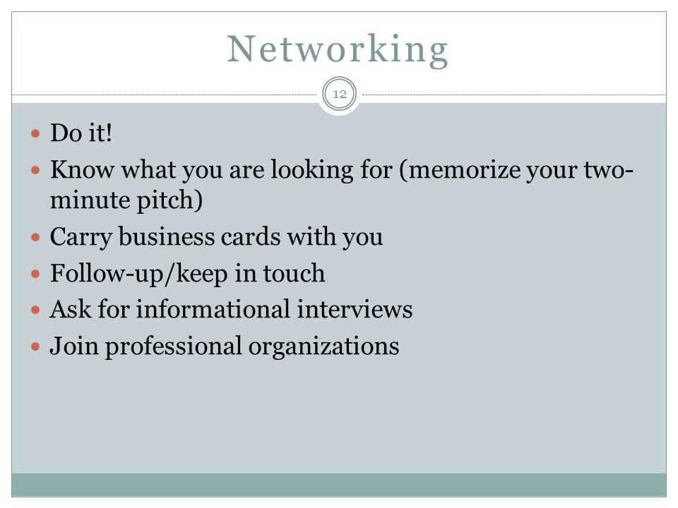 Networking Do it.