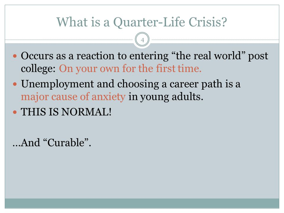 What is a Quarter-Life Crisis.