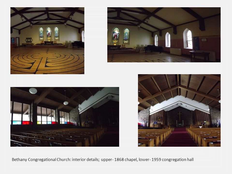 Bethany Congregational Church: interior details; upper- 1868 chapel, lower- 1959 congregation hall