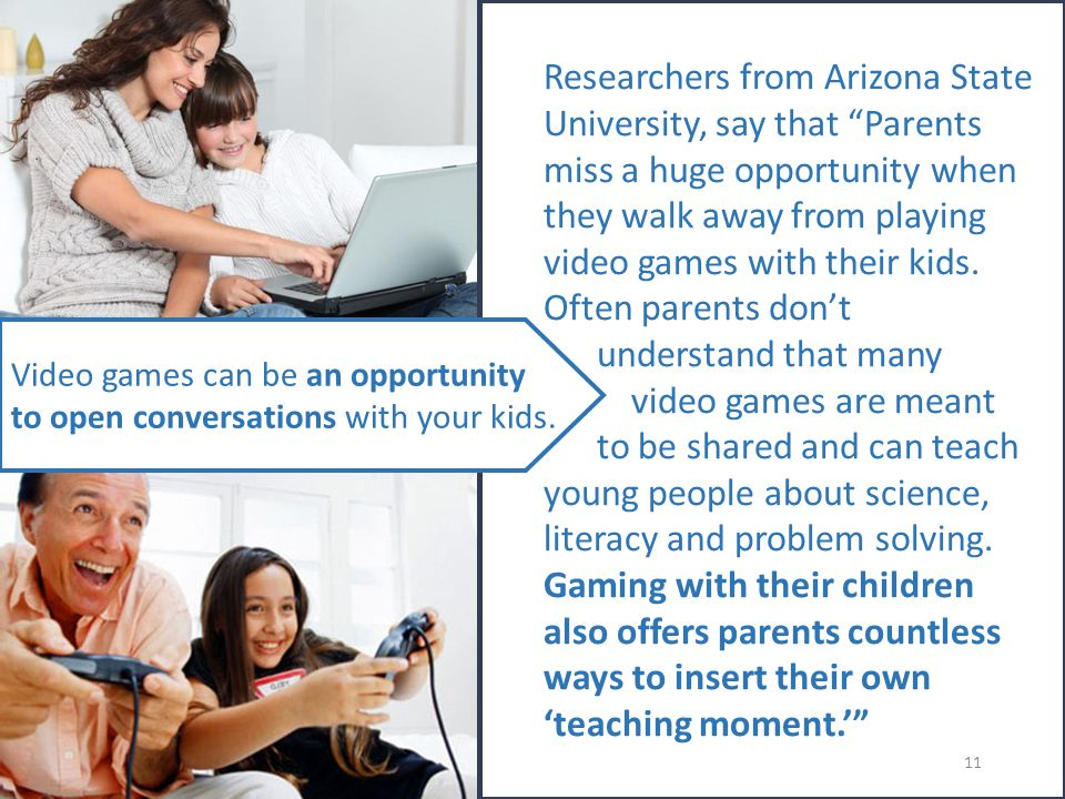 Researchers from Arizona State University, say that Parents miss a huge opportunity when they walk away from playing video games with their kids.