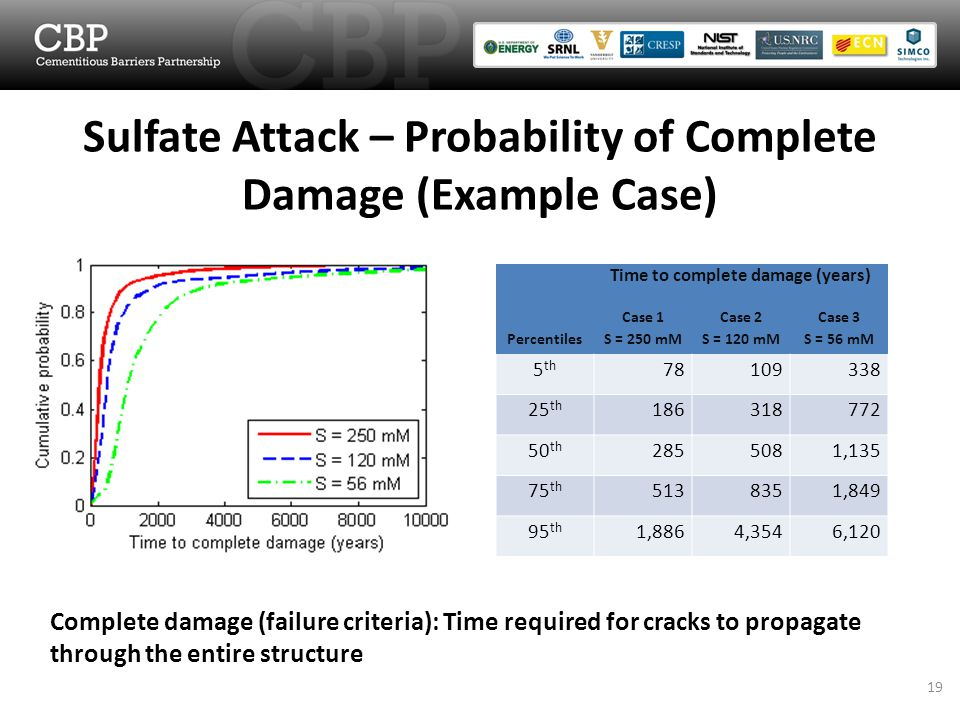 Sulfate Attack – Probability of Complete Damage (Example Case) Complete damage (failure criteria): Time required for cracks to propagate through the entire structure Time to complete damage (years) Percentiles Case 1 S = 250 mM Case 2 S = 120 mM Case 3 S = 56 mM 5 th 78109338 25 th 186318772 50 th 2855081,135 75 th 5138351,849 95 th 1,8864,3546,120 19